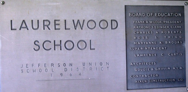 Photo of the Laurelwood school name plaque that is posted outside of main office